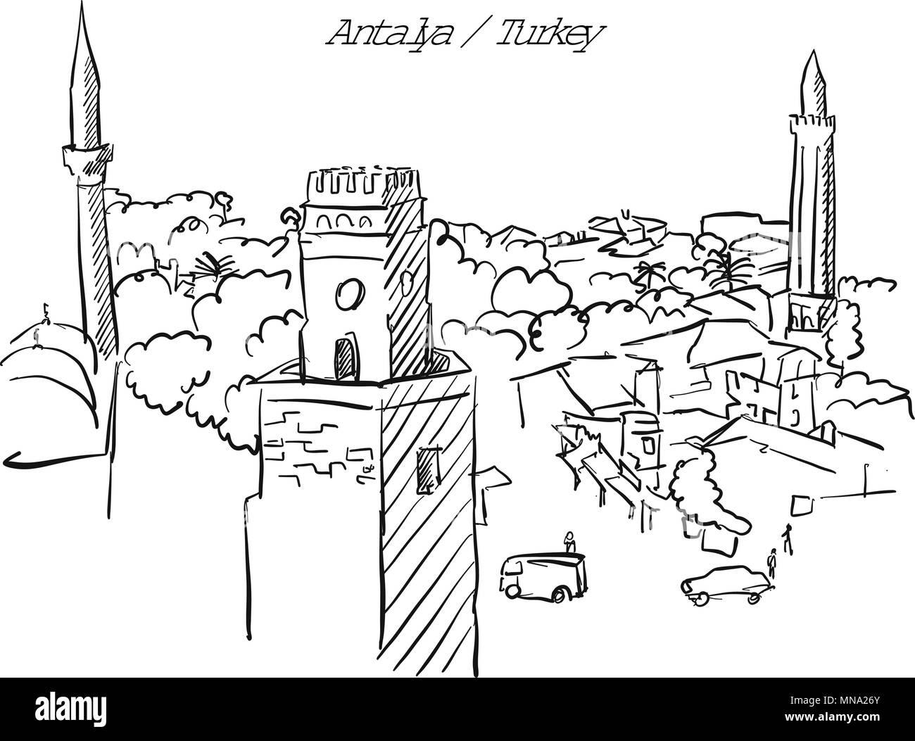 Antalya Turquía Ciudad Vieja Página Para Colorear Famoso