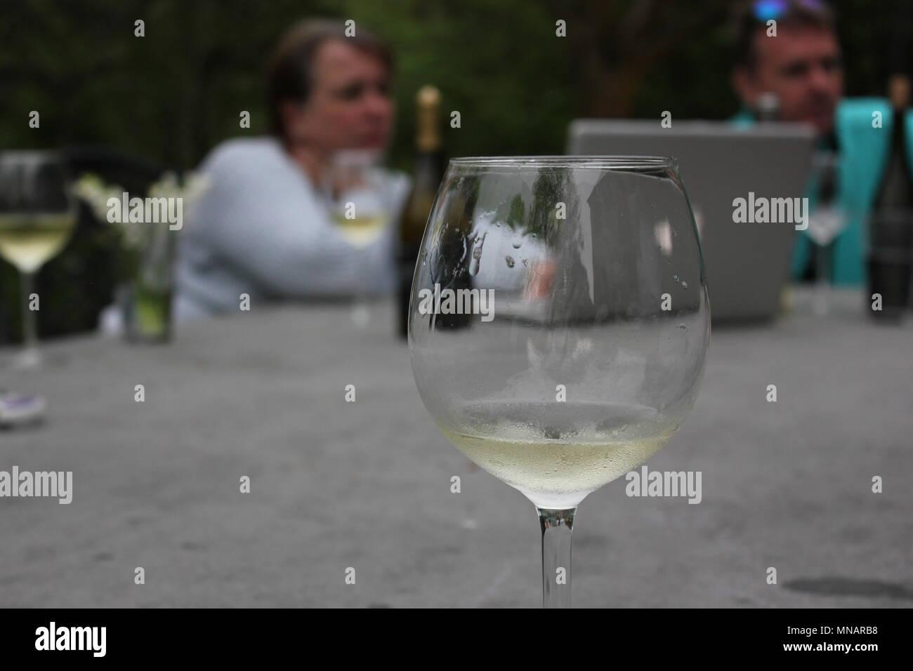 Reunión al aire libre de gente riendo delante de un ordenador con una copa de vino en el primer plano. Imagen De Stock