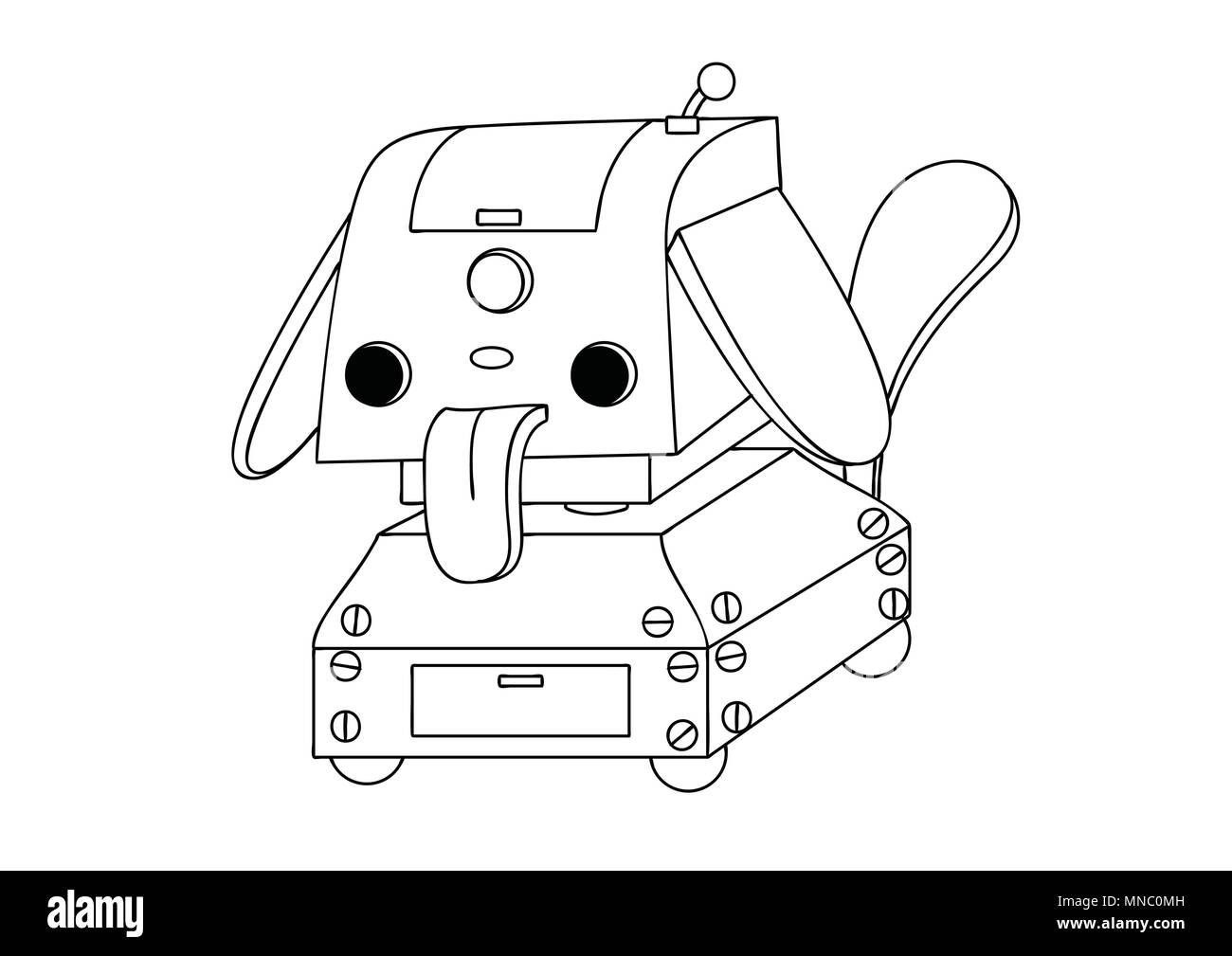 Linda Mascota Robot Dibujados A Mano Para El Elemento De