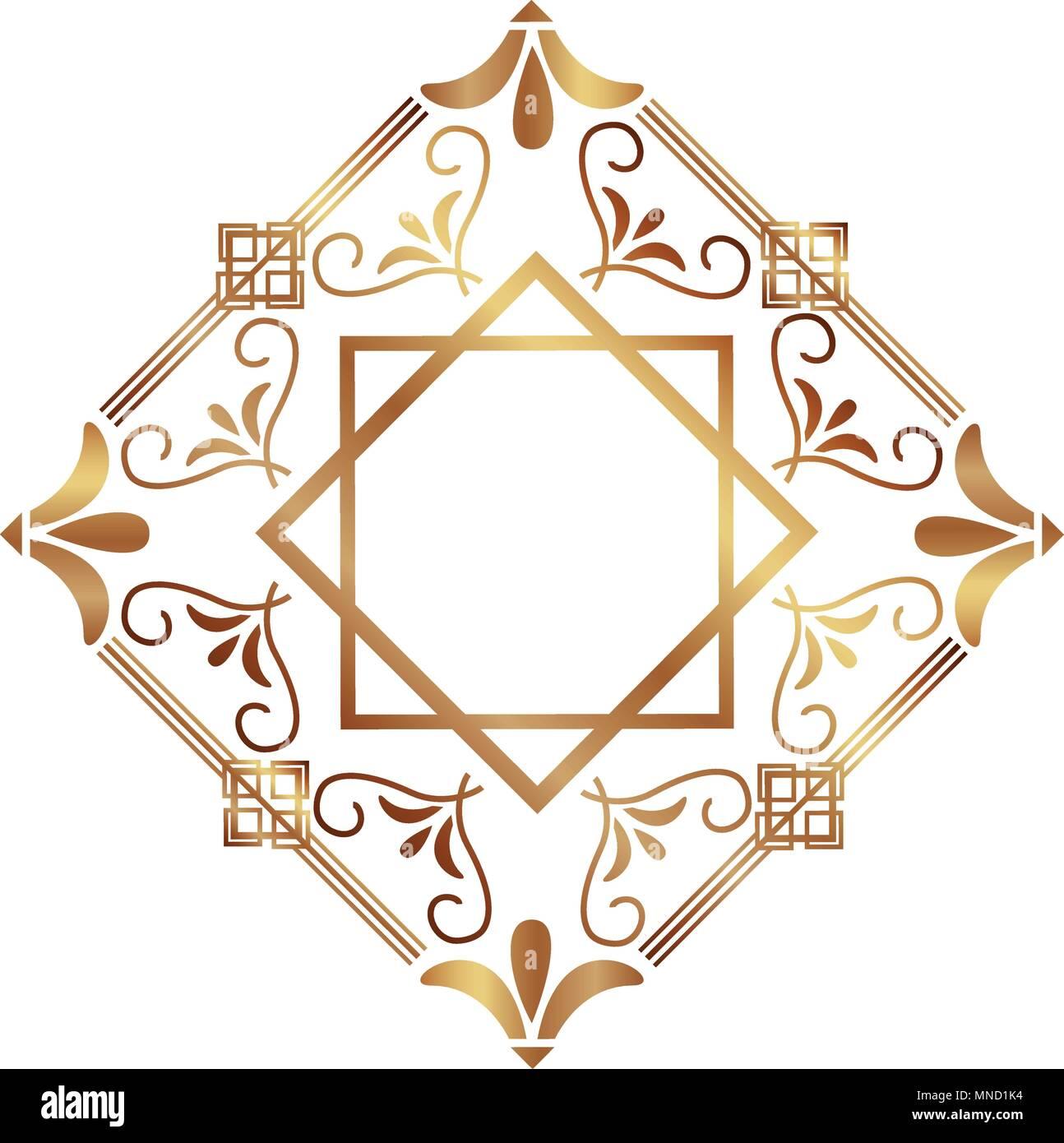 Los bordes del marco art deco retro estilo floral geométrico ...