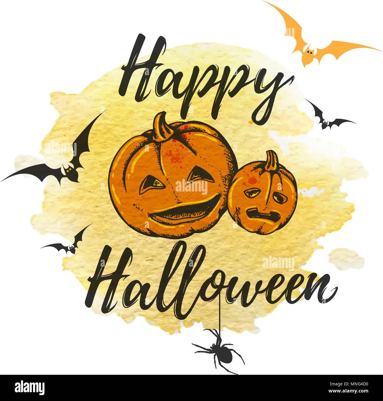 Tarjeta de felicitación de Halloween con calabazas de color naranja y amarillo de textura de acuarela. Ilustración vectorial. Ilustración del Vector