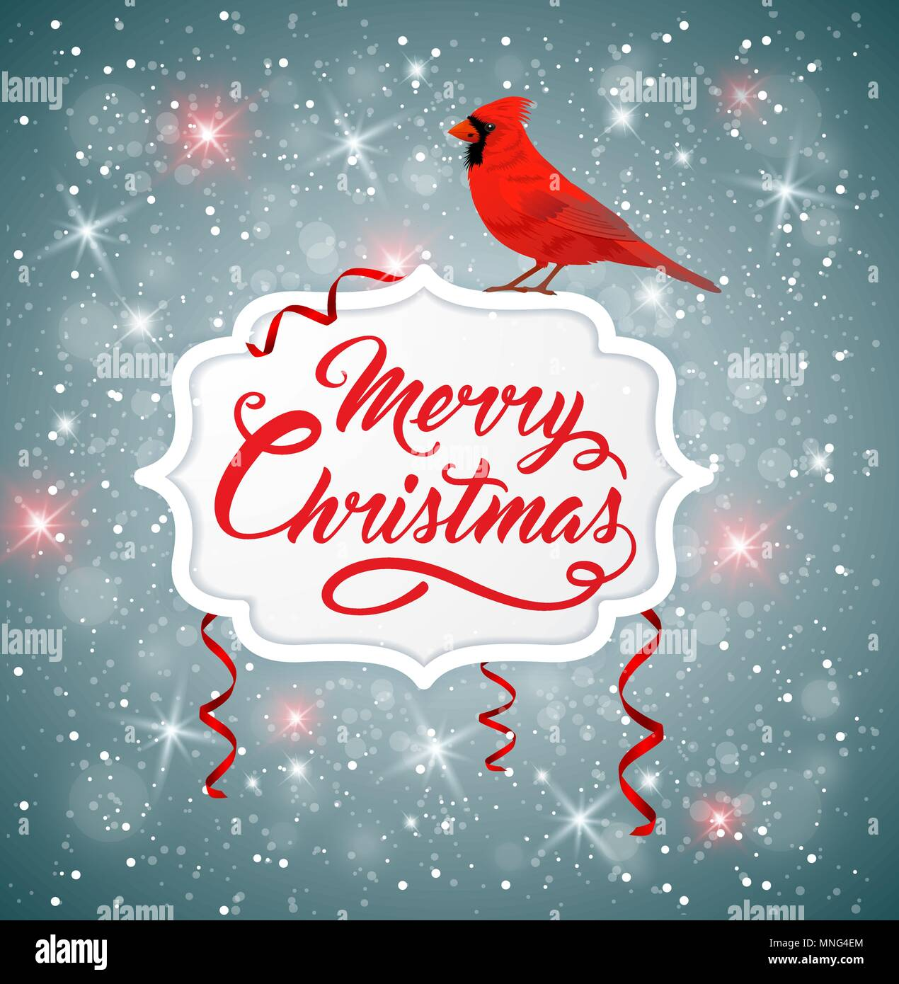 Banner de Navidad vectoriales con rojo cardenal bird y saludo la inscripción. Feliz Navidad letras Ilustración del Vector