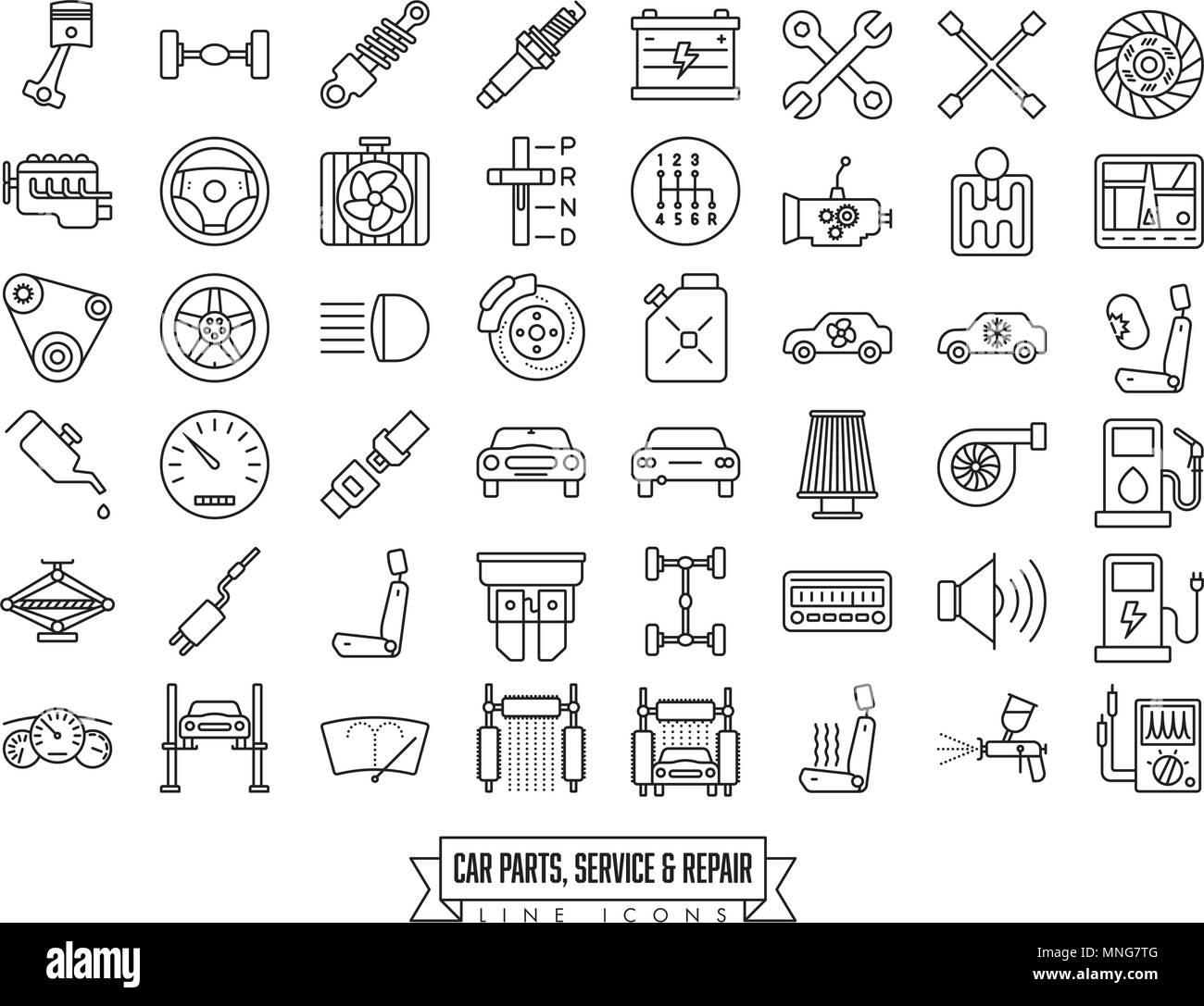 Piezas de automoción, servicio y reparación colección icono línea ...