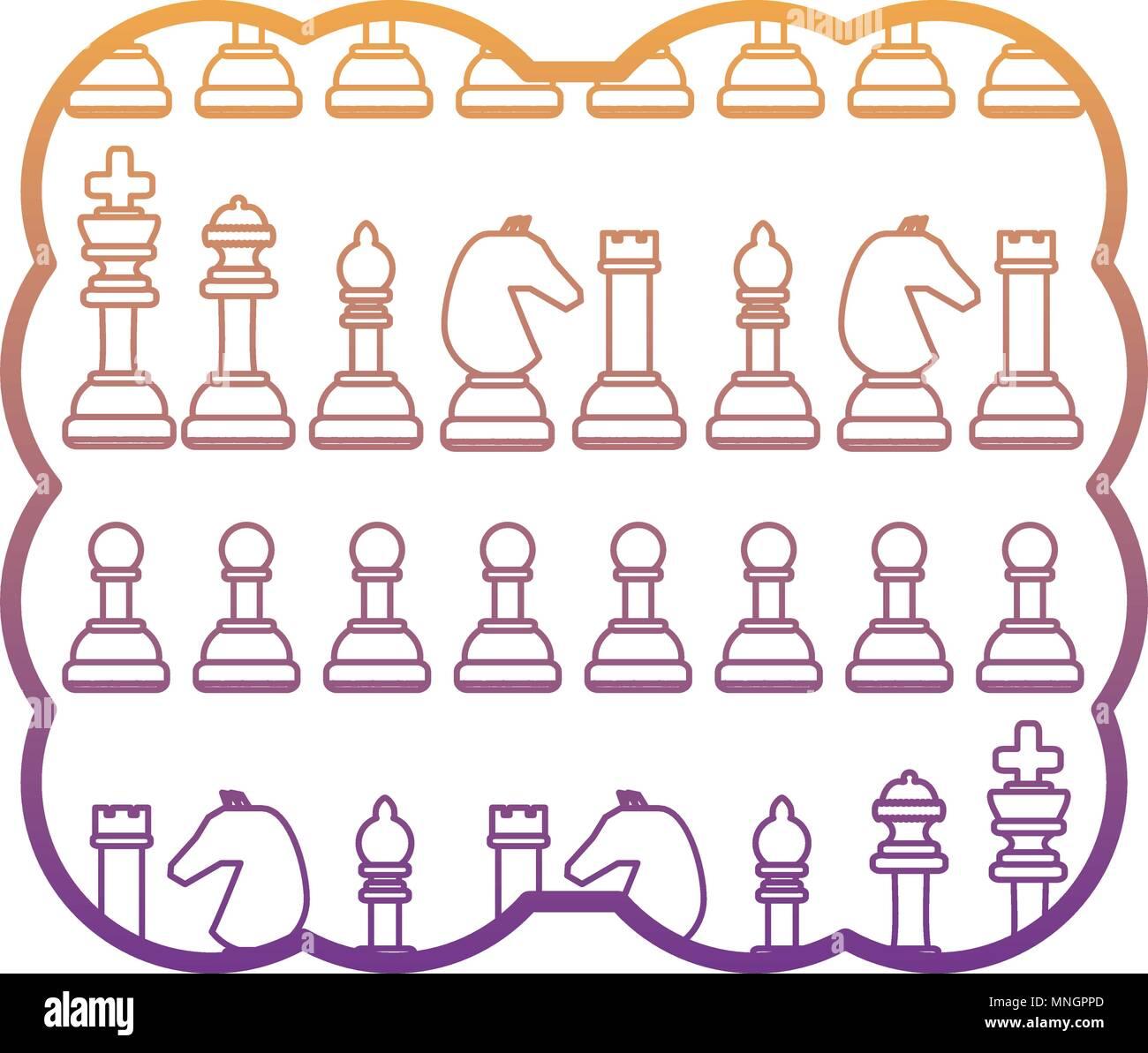 Marco decorativo con piezas de ajedrez modelo sobre fondo blanco ...