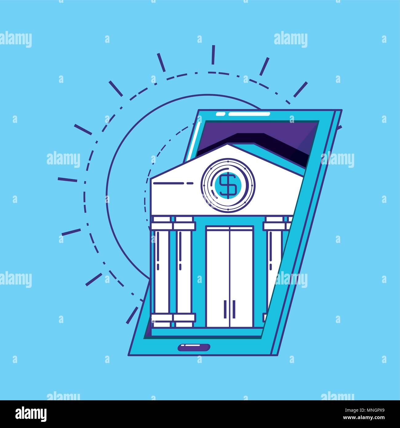 Concepto de tecnología financiera con el smartphone con el edificio de banco sobre fondo azul, ilustración vectorial Imagen De Stock