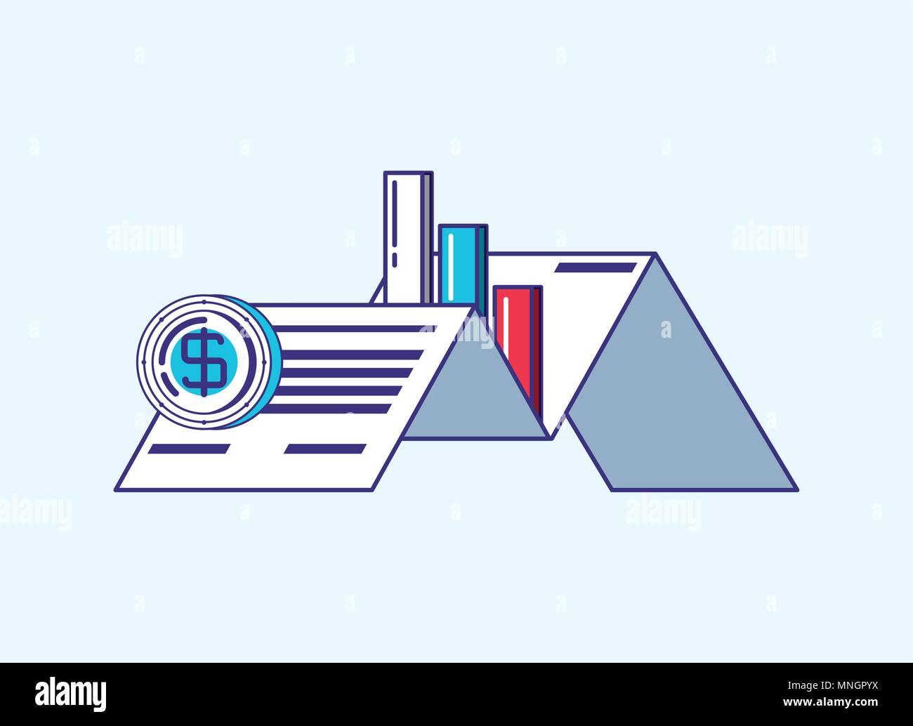 Documento empresarial con tecnología financiera iconos relacionados sobre fondo blanco, ilustración vectorial diseño colorista. Imagen De Stock