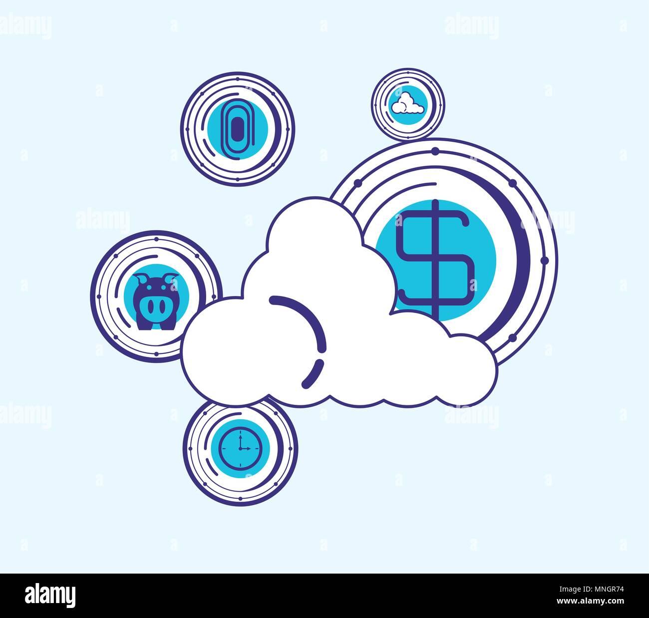 Almacenamiento en la nube con la tecnología financiera iconos relacionados sobre fondo azul, ilustración vectorial Imagen De Stock