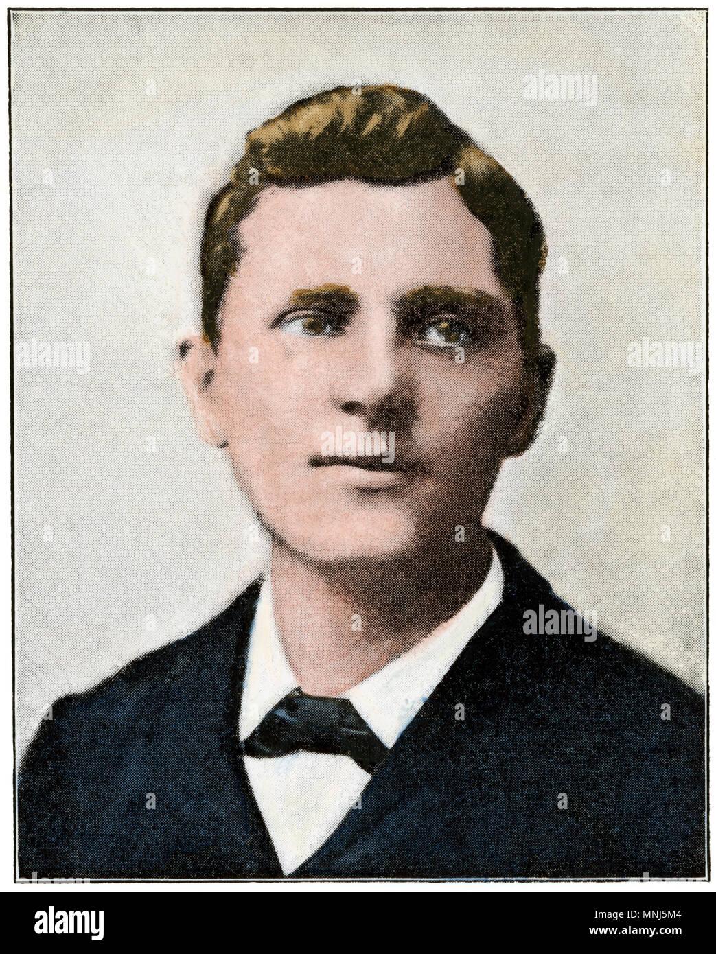 Leon Czolgosz, asesino del Presidente William McKinley en 1901. Medias tintas coloreadas a mano de una fotografía Foto de stock