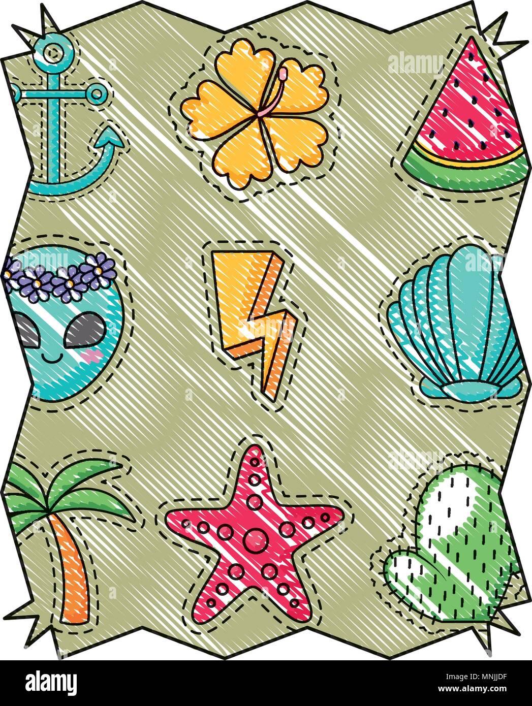 Resumen El bastidor con exóticas palmeras tropicales y patrón en el ...