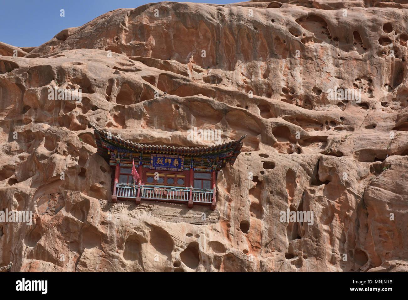 El Mati Si templos en el acantilado, Zhangye, Gansu, China Foto de stock