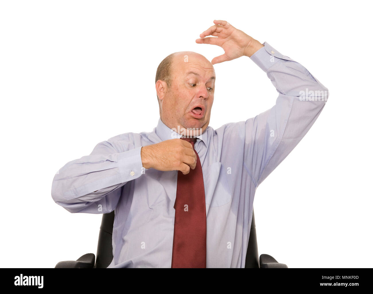 Un hombre de negocios advierte que su sudor. Imagen De Stock