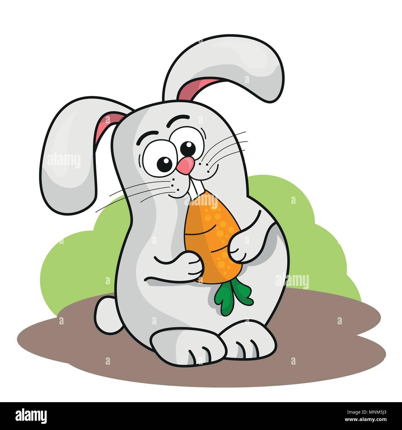 Caricatura Conejo Sosteniendo Una Zanahoria Ilustracion Vectorial Imagen Vector De Stock Alamy Dibujo de un conejo con zanahoria para pintar, colorear o imprimir. https www alamy es caricatura conejo sosteniendo una zanahoria ilustracion vectorial image185454923 html