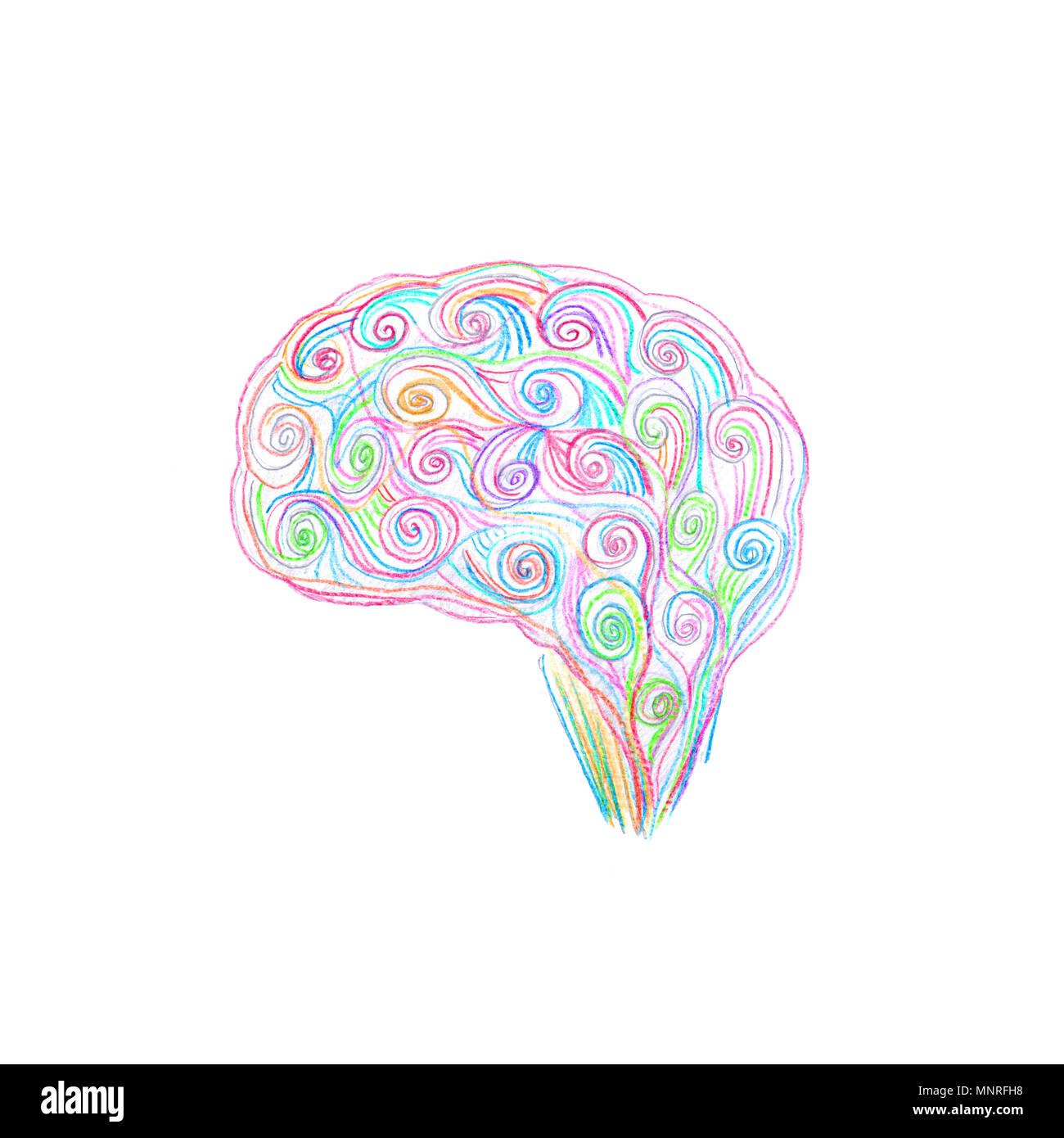 Cerebro de dibujo con lápices de colores. Concepto de creatividad. Imagen De Stock