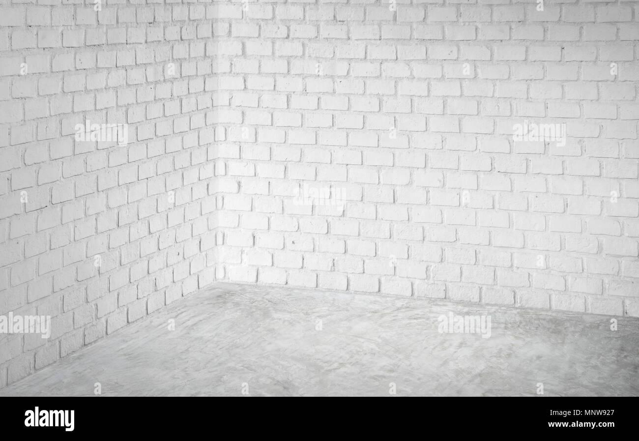 2a5f297cf4ab Esquina vacía pared de ladrillo blanco y moderno y suelo de hormigón gris  perspectiva,sala