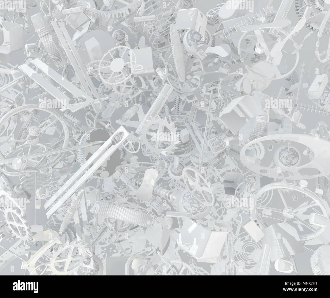 Piezas de relojería resumen gran grupo 3d, ilustración de fondo horizontal Imagen De Stock
