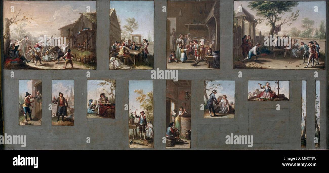 Español: Trece bocetos para cartones de tapices Inglés: Trece bocetos para tapiz caricaturas circa 1786. 1204 trece bocetos para cartones de tapices Imagen De Stock