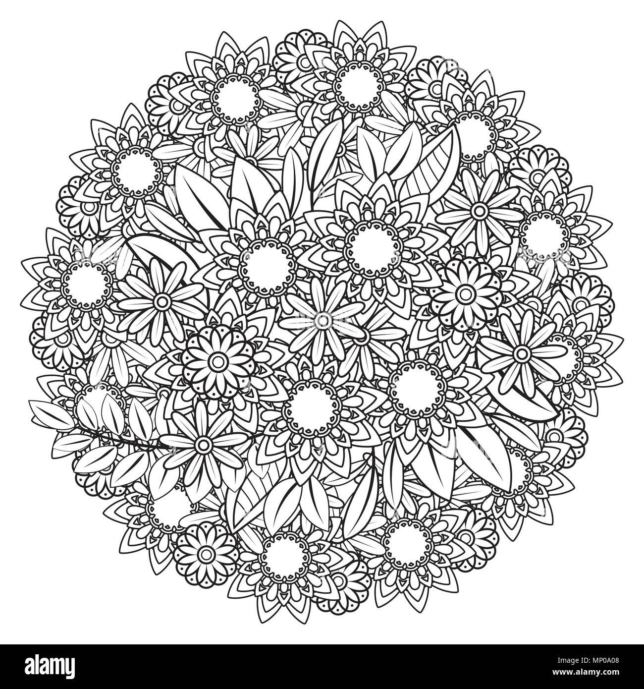 Página para colorear de adultos con patrón de flores. Corona el ...