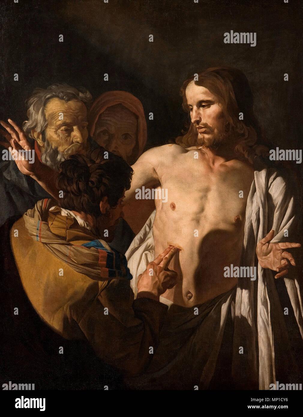 La incredulidad de santo Tomás - Matthias Stom o Mathías Stomer Imagen De Stock