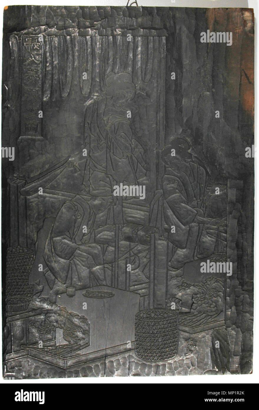 """. Inglés: Adhesión Número: 1943.24 Mostrar Artista: Yoshifuji Utagawa Mostrar Título: xilografía de mujeres haciendo seda (anverso) y nuevos cometas (verso) Título de la serie: anverso: Fujin kaiko yashinai no zu verso: Shinpan tako-e zukushi Fecha de creación: 1864 (verso) Altura: 15 1/2"""". Ancho: 10 1/2"""". Mostrar Dimensiones: 15 1/2"""" x 10 1/2"""" x 7/16"""". (39,37 cm x 26,67 cm x 1,11 cm) Editorial: Kobayashi Taijiro Línea de Crédito: Museo copia de la etiqueta de compra: """"This impresin se expidi para conmemorar el kaomise, oh representacin en que muestra la cara, en el onceavo mes de 1784 en el teatro Nakamura. En el teatr Foto de stock"""