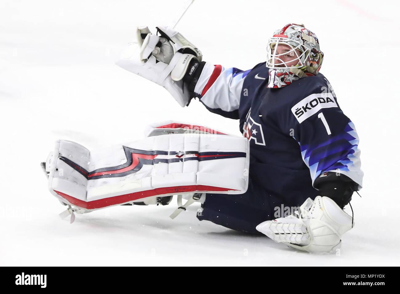 Copenhague, Dinamarca. 20 de mayo de 2018. Copenhague, Dinamarca - 20 de mayo de 2018: Los Estados Unidos Keith Kinkeid goaltender en sus 2018 Campeonato del Mundo de hockey hielo IIHF medalla de bronce contra Canadá en Royal Arena. Anton Novoderezhkin/TASS Crédito: Agencia de Noticias ITAR-TASS/Alamy Live News Foto de stock
