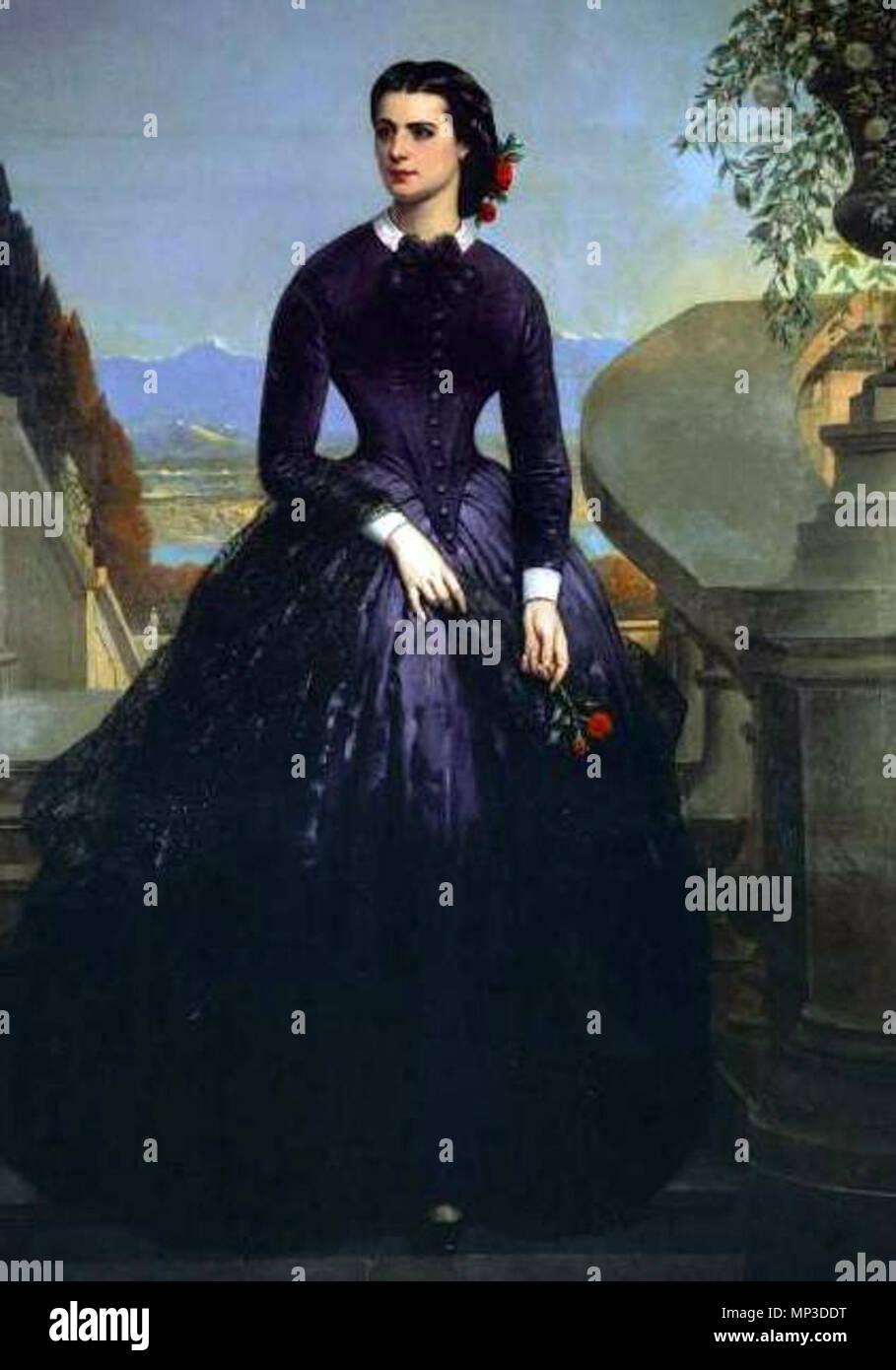 Retrato de Isidora Goyenechea. Retrato de la multimillonaria empresaria chilena del siglo XIX Isidora Goyenechea realizado en París junto con el de su marido Luis Cousiño . antes de 1873. 676 Isidora Goyenechea Imagen De Stock