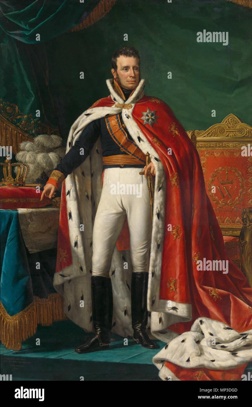 Opnamedatum: 2011-02-07 Retrato de Guillermo I, Rey de los Países Bajos . Retrato de Guillermo I (1772-1743) como Rey del Reino Unido de los Países Bajos. De pie, de longitud completa, en el uniforme de gala de un general. A lo largo de su hombro derecho el cordón de la Orden Militar de Guillermo. A través de su uniforme vistiendo una túnica roja bordeada de armiño. A la derecha el trono real, a la izquierda hay un cuadro con el mapa de partes de Java (Bantam, y Cheribon Jacatra) hoy en día en Indonesia, y también una almohada con corona y cetro y un sombrero con plumas ostriche. 1819. 1023 Portret van Willem I, koning de Imagen De Stock