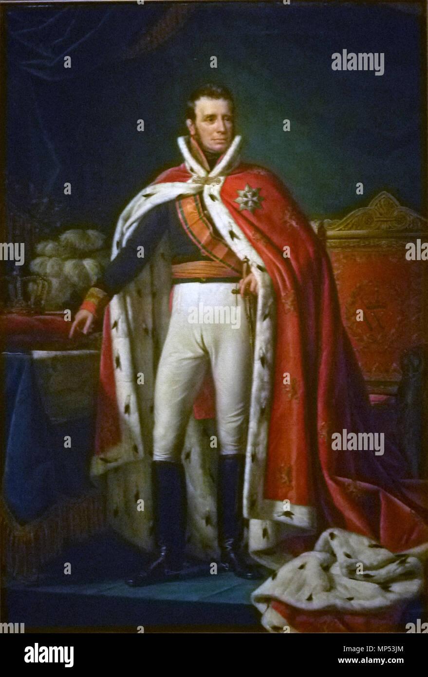 Retrato de Guillermo I, Rey de los Países Bajos. Retrato de Guillermo I (1772-1743) como Rey del Reino Unido de los Países Bajos. De pie, de longitud completa, en el uniforme de gala de un general. A lo largo de su hombro derecho el cordón de la Orden Militar de Guillermo. A través de su uniforme vistiendo una túnica roja bordeada de armiño. A la derecha el trono real, a la izquierda hay un cuadro con el mapa de partes de Java (Bantam, y Cheribon Jacatra) hoy en día en Indonesia, y también una almohada con corona y cetro y un sombrero con plumas ostriche. 1819. 742 Joseph Paelinck - Willem I 001 Imagen De Stock