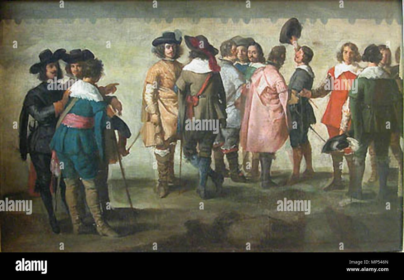Escuela madrileña: Reunión de trece personajes. París, Museo del Louvre. La tela, muy estimada en su momento por Manet, como obra de Velázquez, aparece actualmente una reeferida Martínez del mazo. 1058 Reunión de trece personajes, por Martínez del Mazo Imagen De Stock