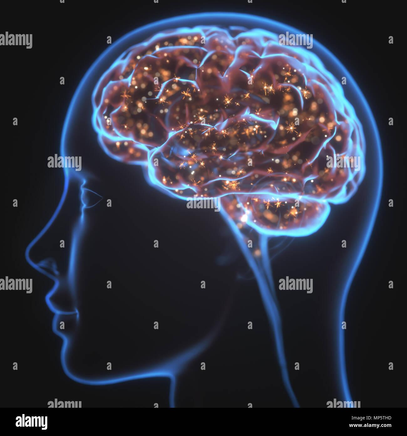 Ilustración 3D. Radiografía de la cabeza y el cerebro humano en concepto de conexiones neuronales y pulsos eléctricos. Brilla dentro del cerebro. Poderosa mente. Imagen De Stock