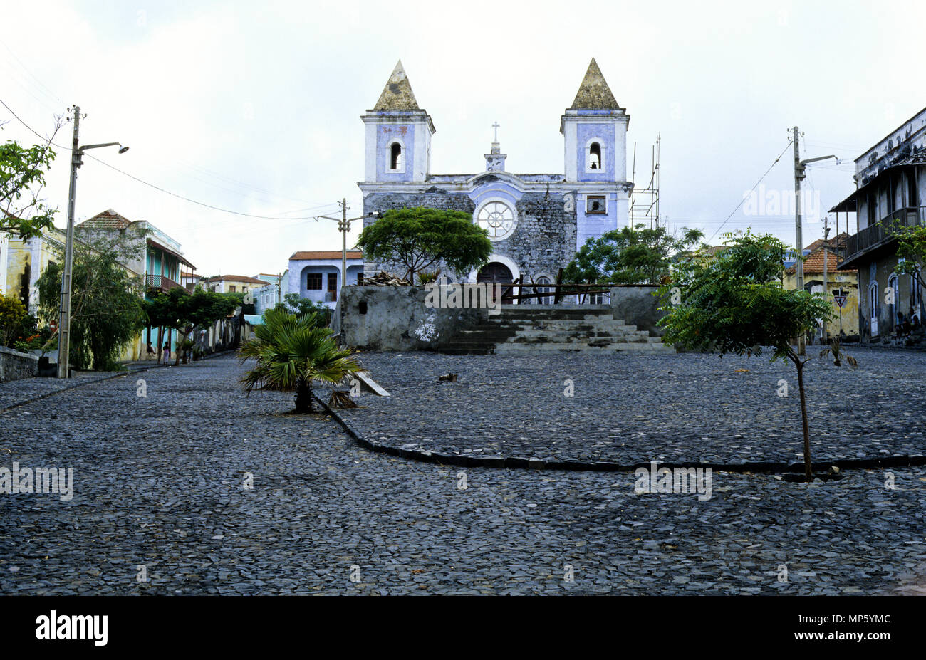 FCatholic Iglesia de Nossa Senhora da Conceicao, Sao Filipe, isla de Fogo, Cabo Verde, África Imagen De Stock