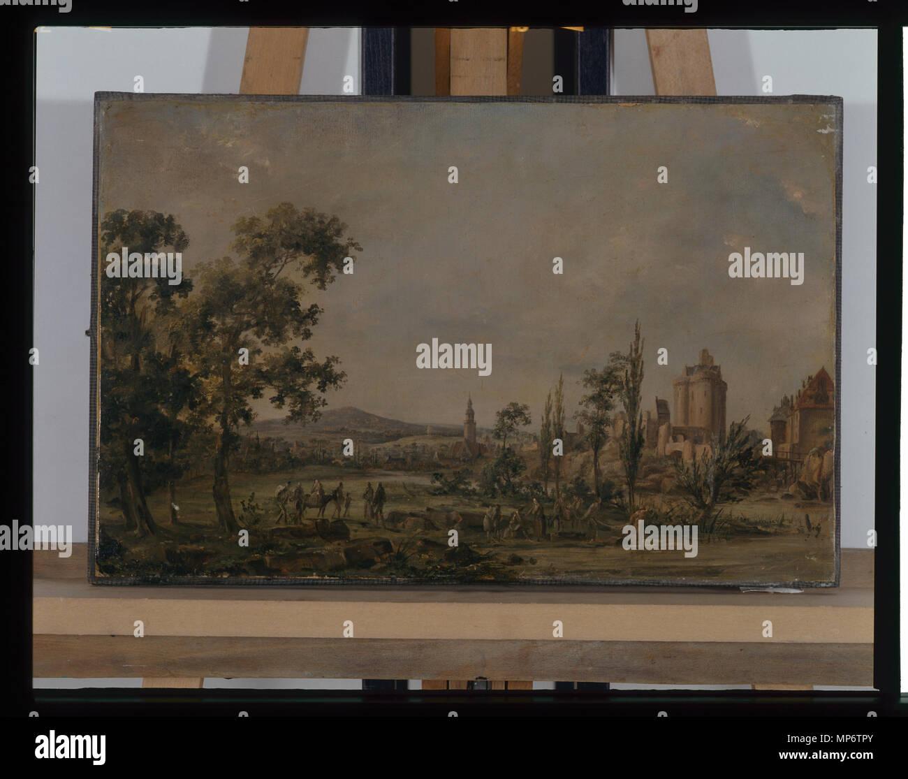 968 Paysage - anonyme - Musée d'art et d'histoire de Saint-Brieuc Foto de stock