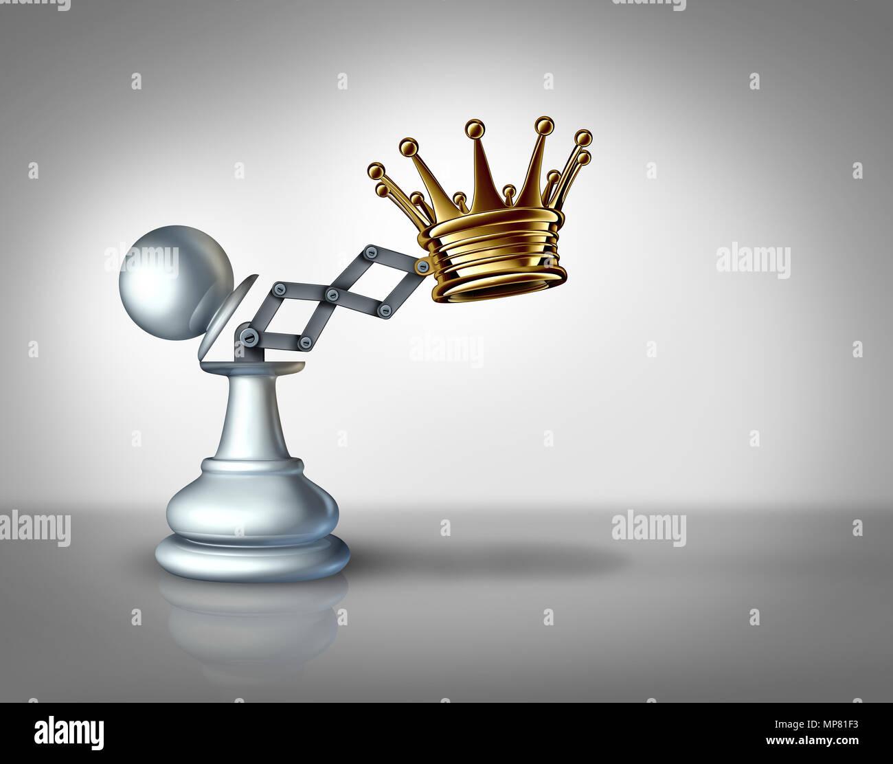 El liderazgo empresarial y el poder con el concepto de confianza como una estrategia de éxito como una idea de ilustración 3D. Imagen De Stock