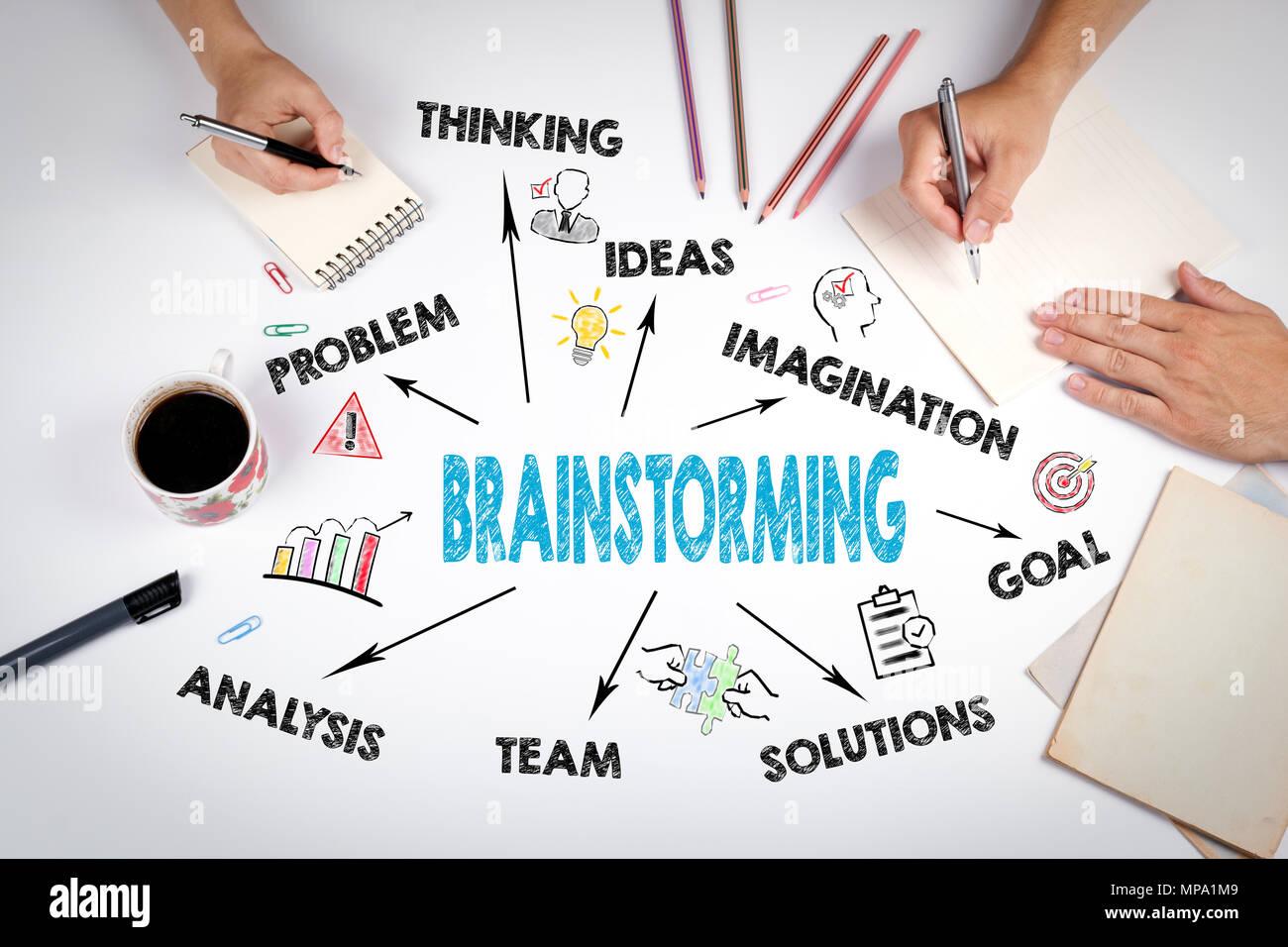 Concepto de lluvia de ideas. Gráfico con iconos y palabras clave Imagen De Stock