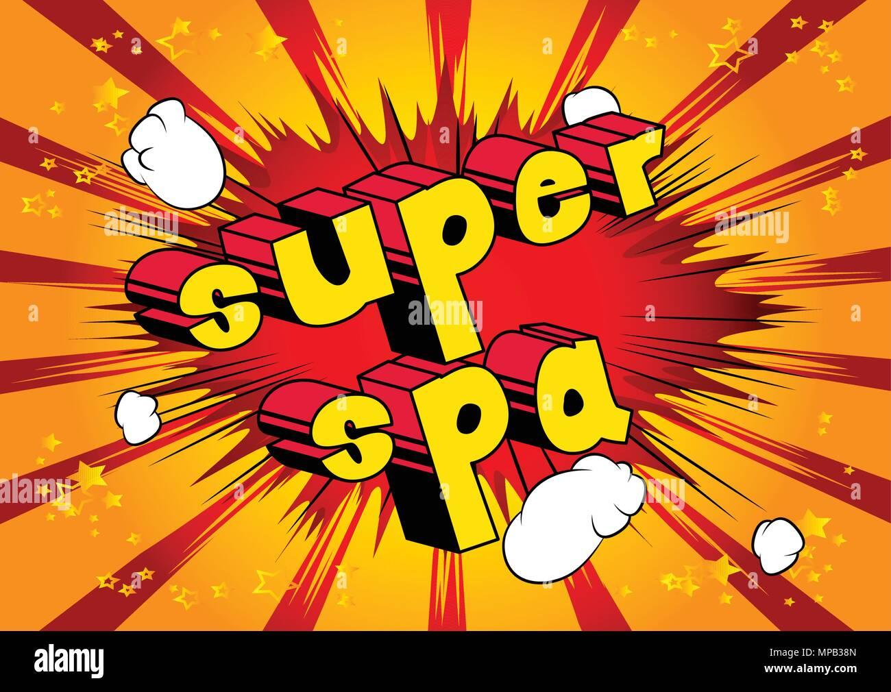 Super Spa Estilo Cómic Frase Sobre Fondo Abstracto