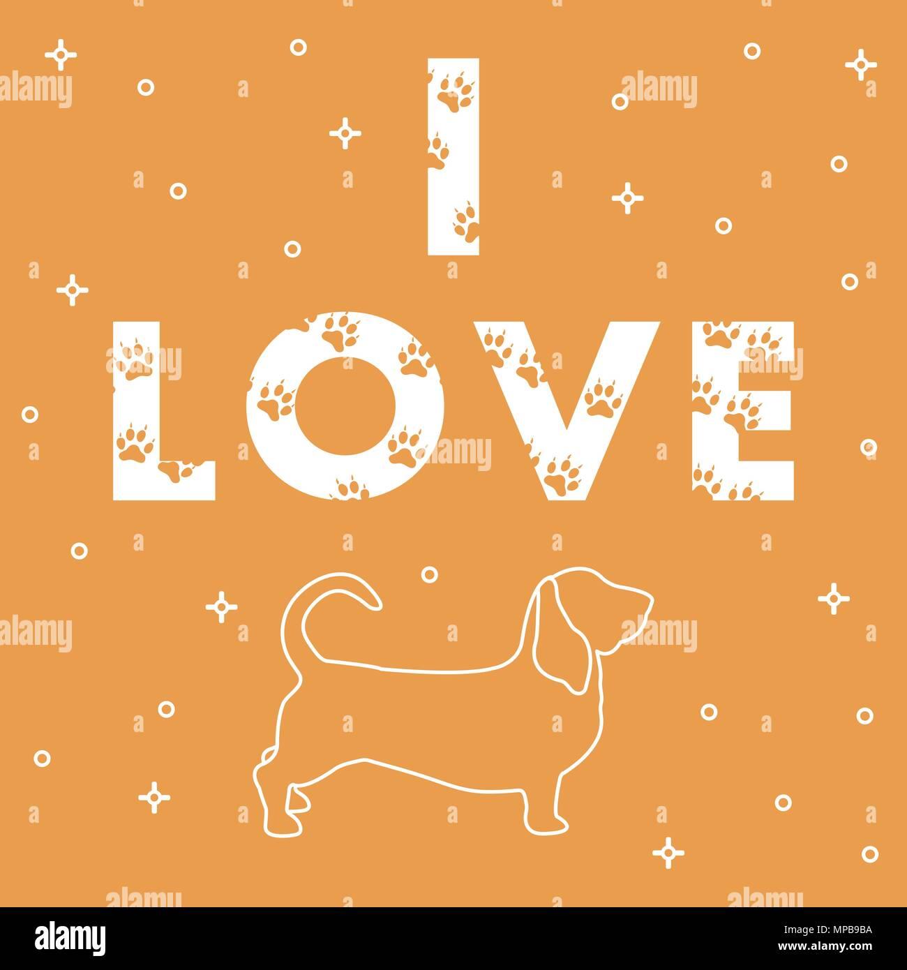 Frase Amo Y El Perro El Mensaje Está Decorado Con Huellas