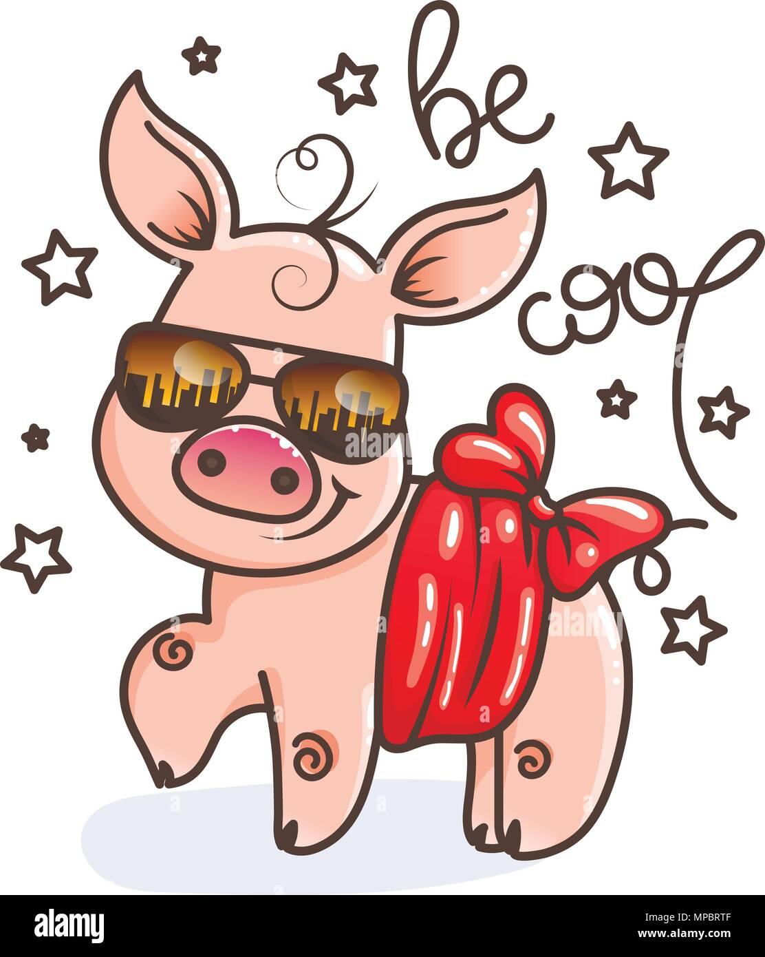 Cartoon Adorable Baby Pig Vector Illustration Imágenes De Stock ...