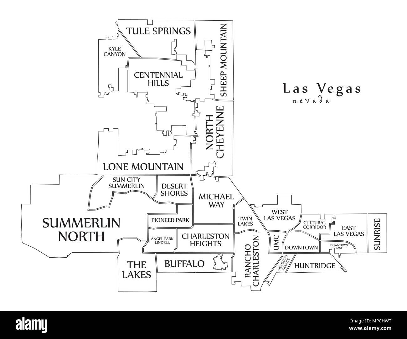 Mapa De La Ciudad Moderna La Ciudad De Las Vegas Nevada De Los Estados Unidos Con Los Barrios Y Titulos Mapa De Esquema Imagen Vector De Stock Alamy