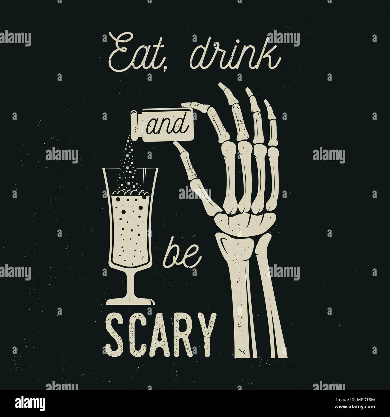 Comer, beber y ser aterrador. Vector logo retro de Halloween ...