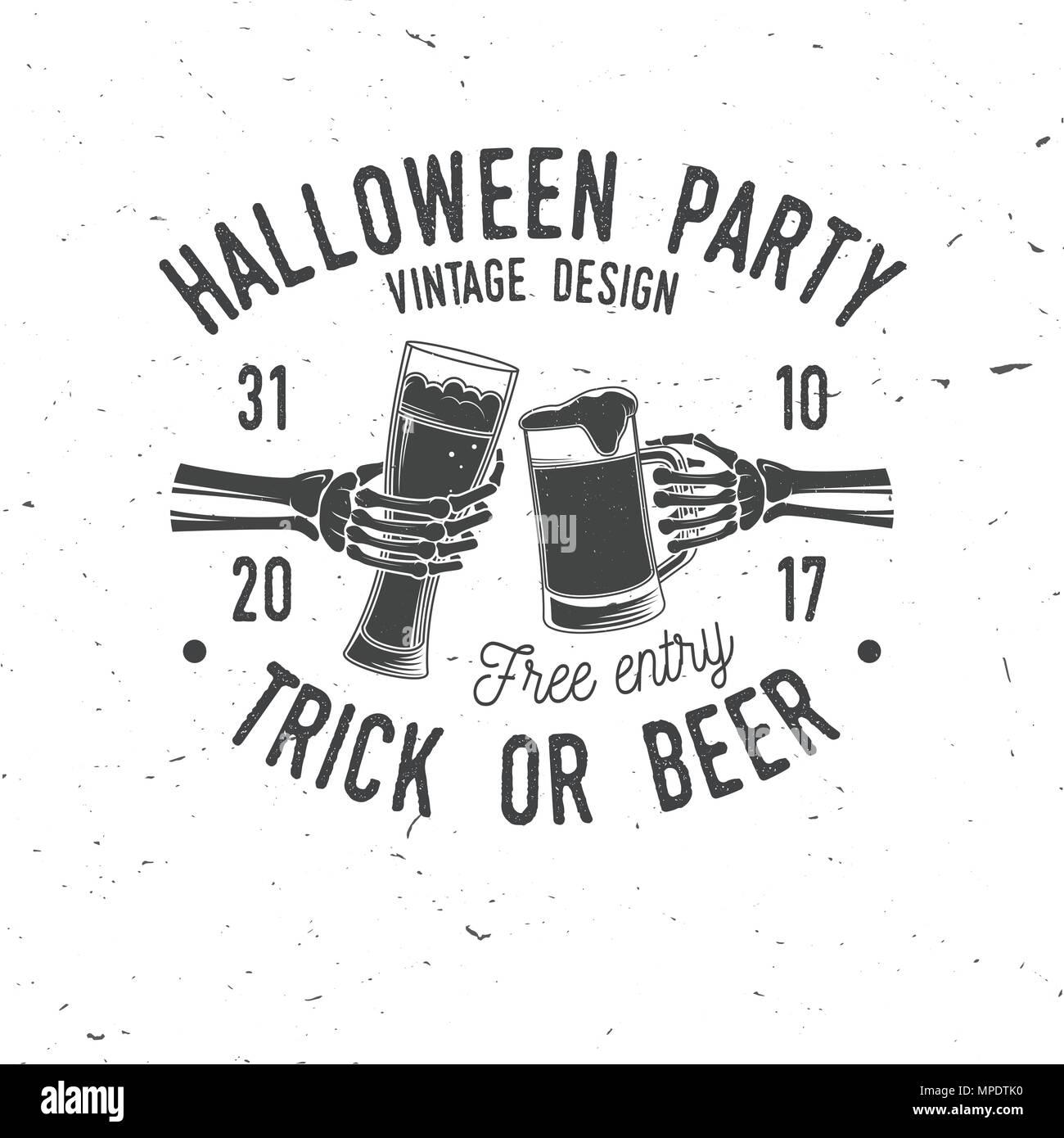 Fiesta de Halloween. Truco o cerveza. Vector logo retro de Halloween ...