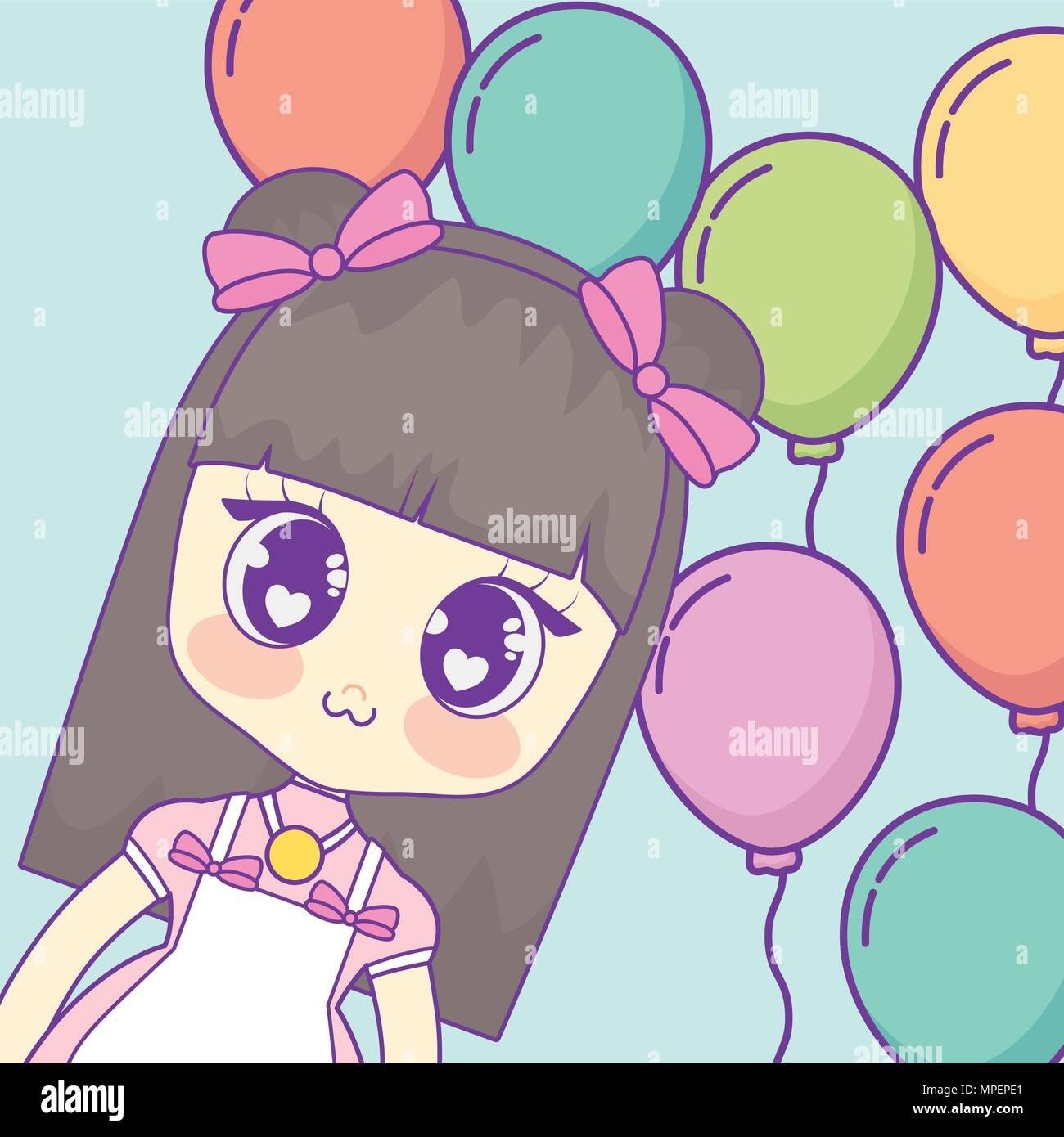 a26261105 Kawaii anime chica en globos de colores y fondo azul
