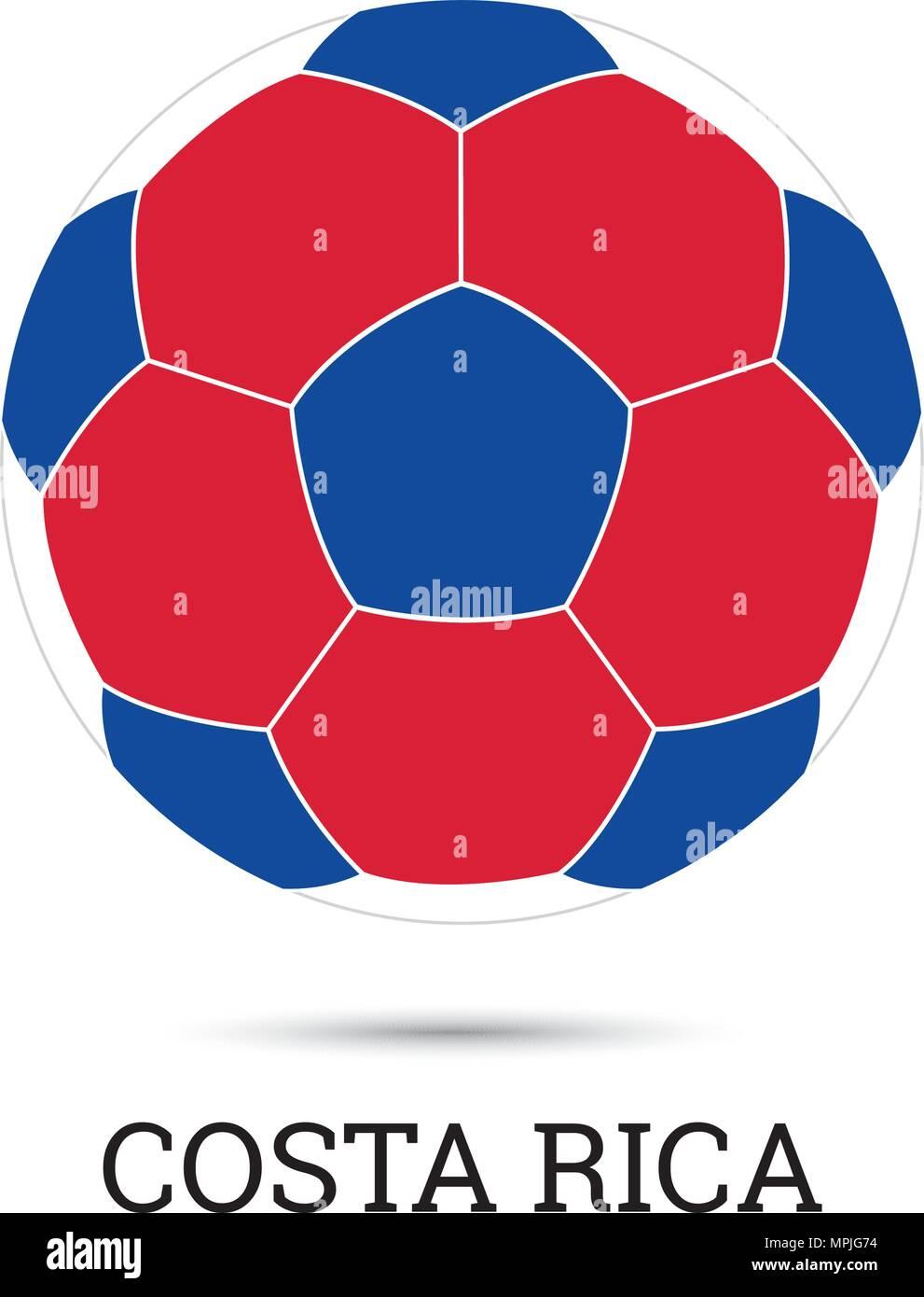Balón de fútbol con los colores y el emblema nacional costarricense  ilustración vectorial Imagen De Stock e891adde4bb8b