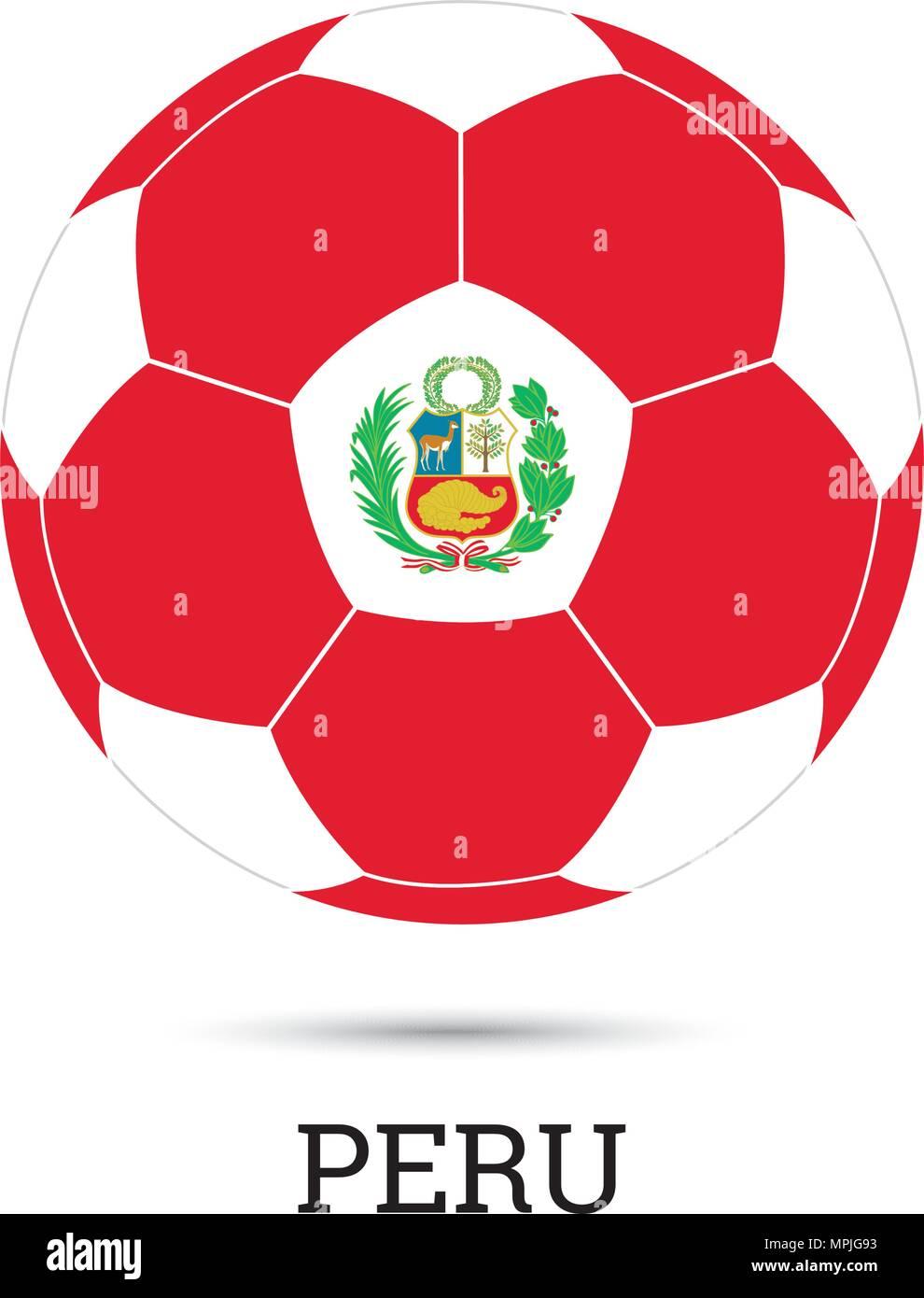 Balón de fútbol con los colores y el emblema nacional peruana ilustración  vectorial Imagen De Stock 21ee177746baf