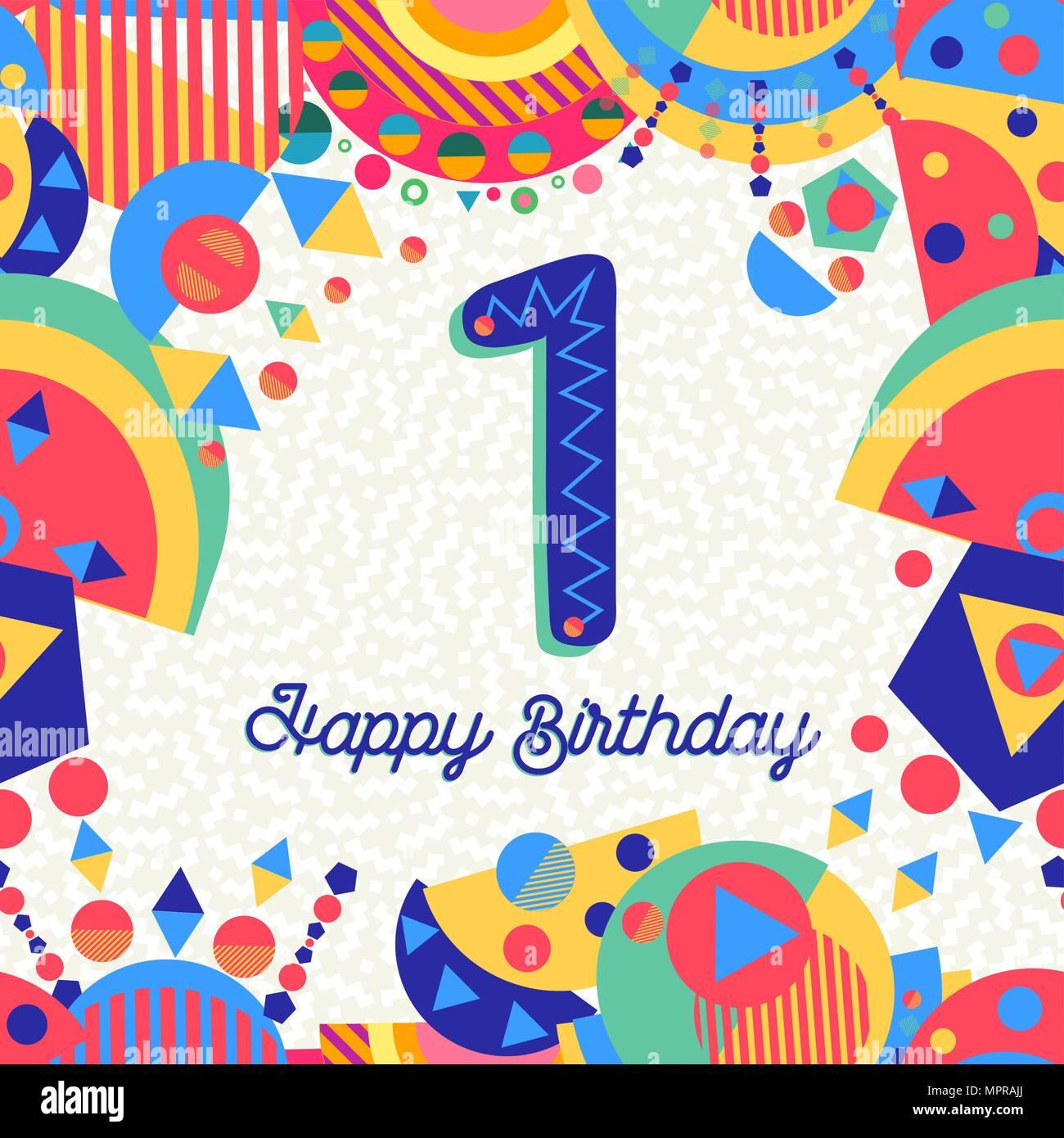 Feliz Cumpleaños Primer Año 1 Un Diseño Divertido Con Número