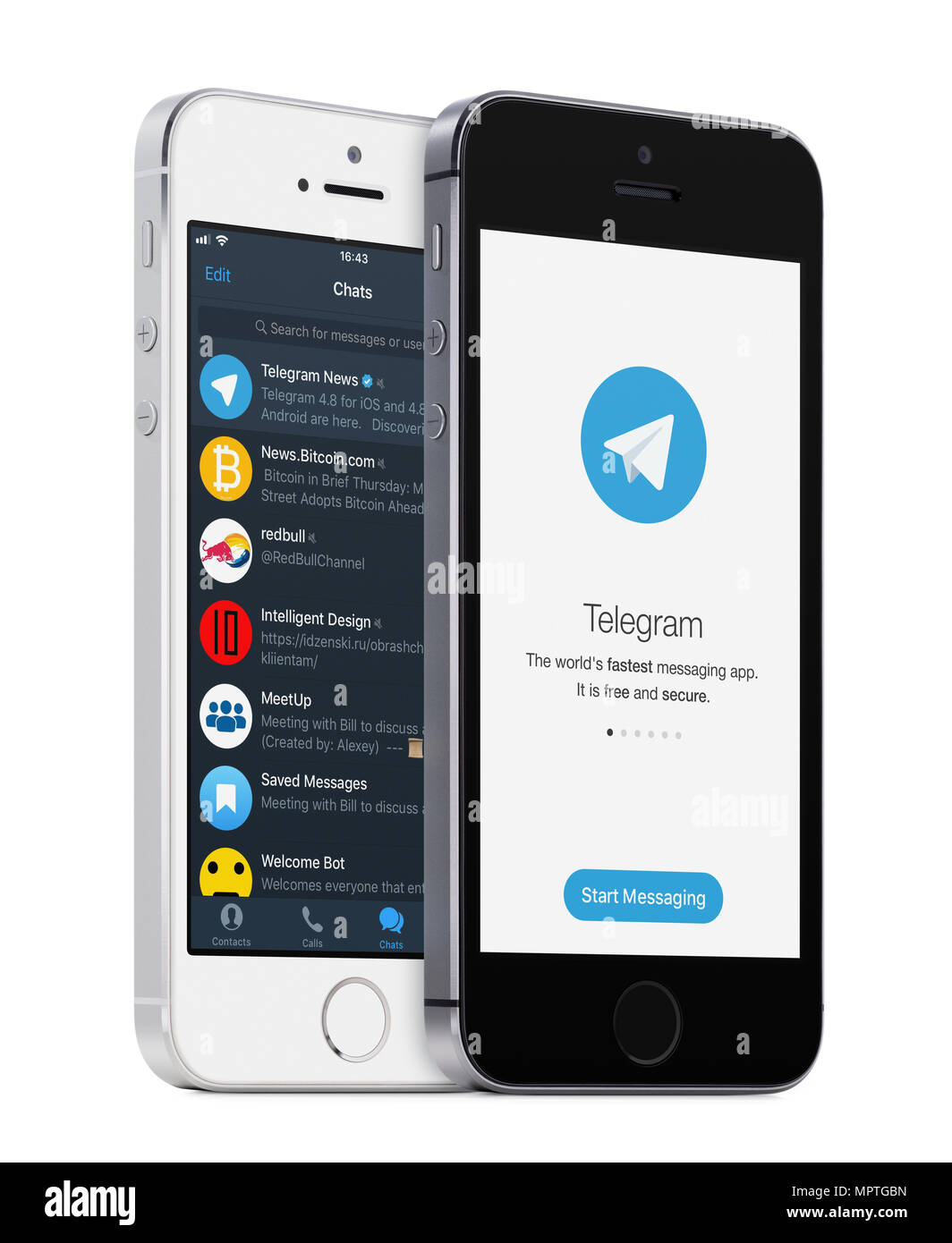 Telegrama messenger app logo y telegrama lista de chat en el blanco y negro de los iphone de Apple. Imagen De Stock