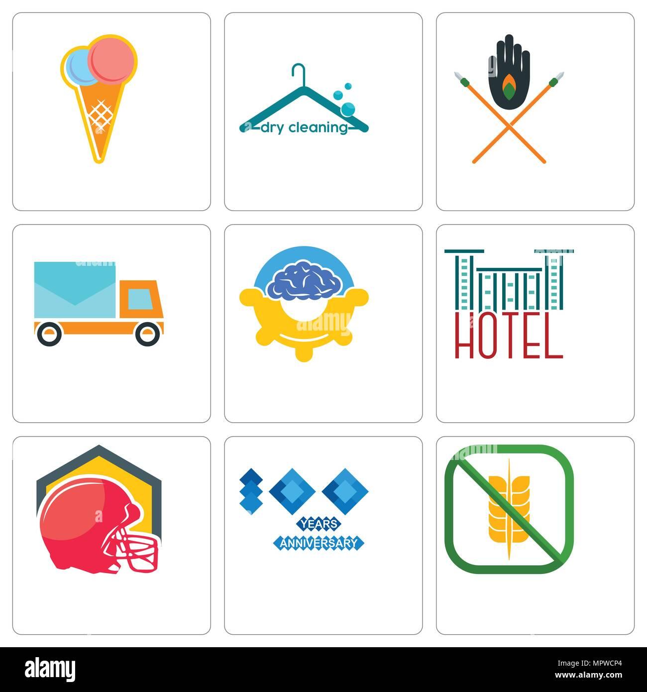 Conjunto de 9 sencillos iconos editables como libre de gluten d784781287c