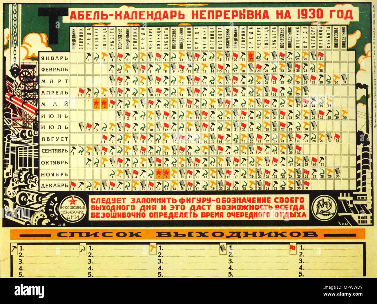 Calendario 1929.Calendario Sovietico De 1930 Con La Semana Laboral De Cinco