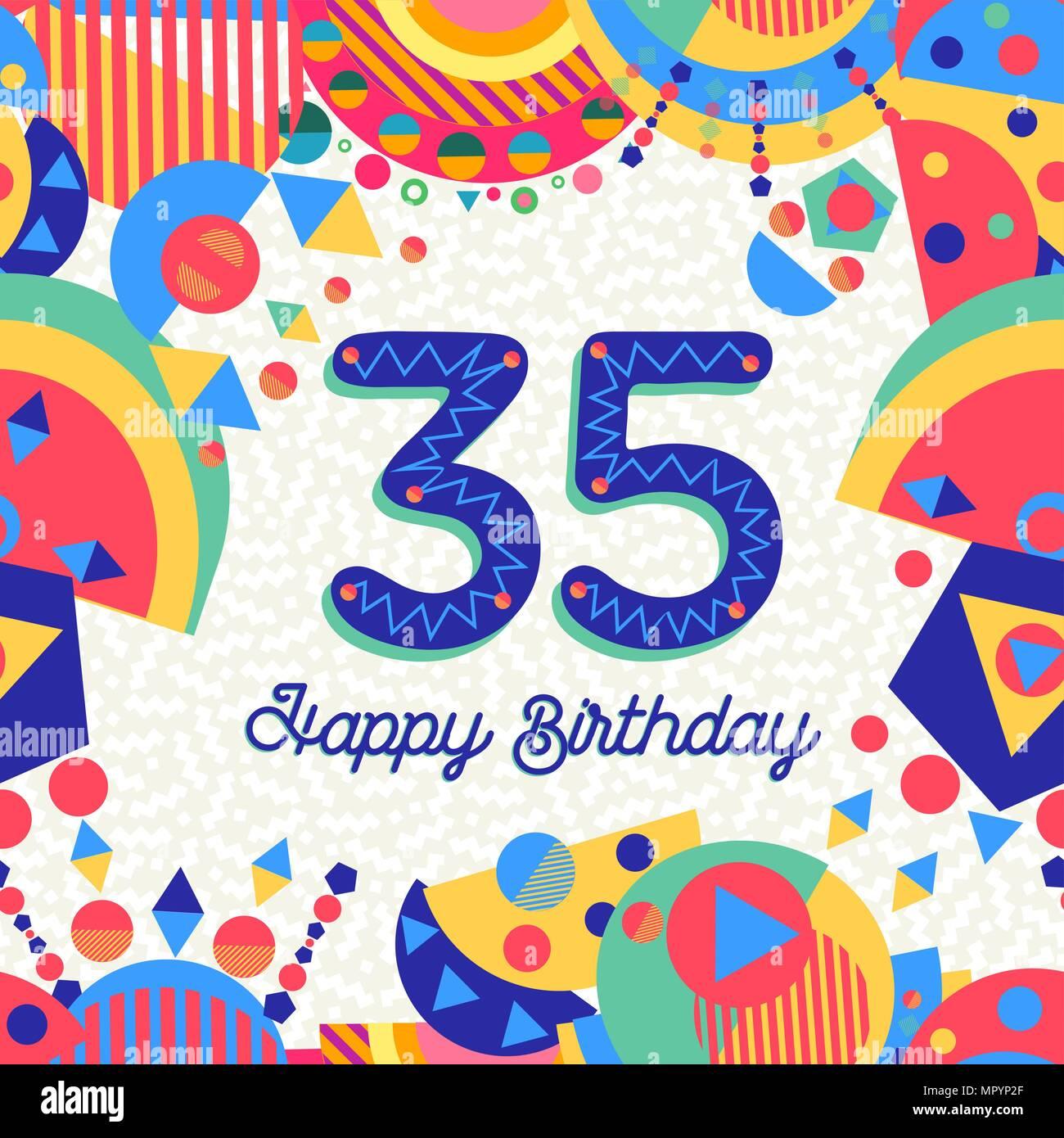 Feliz Cumpleaños Treinta Y Cinco 35 Años De Diseño Divertido