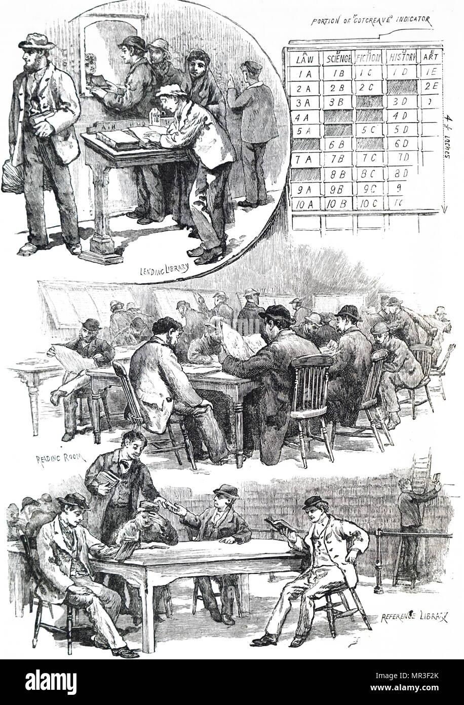 Ilustración mostrando un sábado por la noche en una biblioteca libre. Estos fueron establecidos en Gran Bretaña después de la promulgación de la Ley de bibliotecas libres de 1850. Fecha del siglo XIX Imagen De Stock