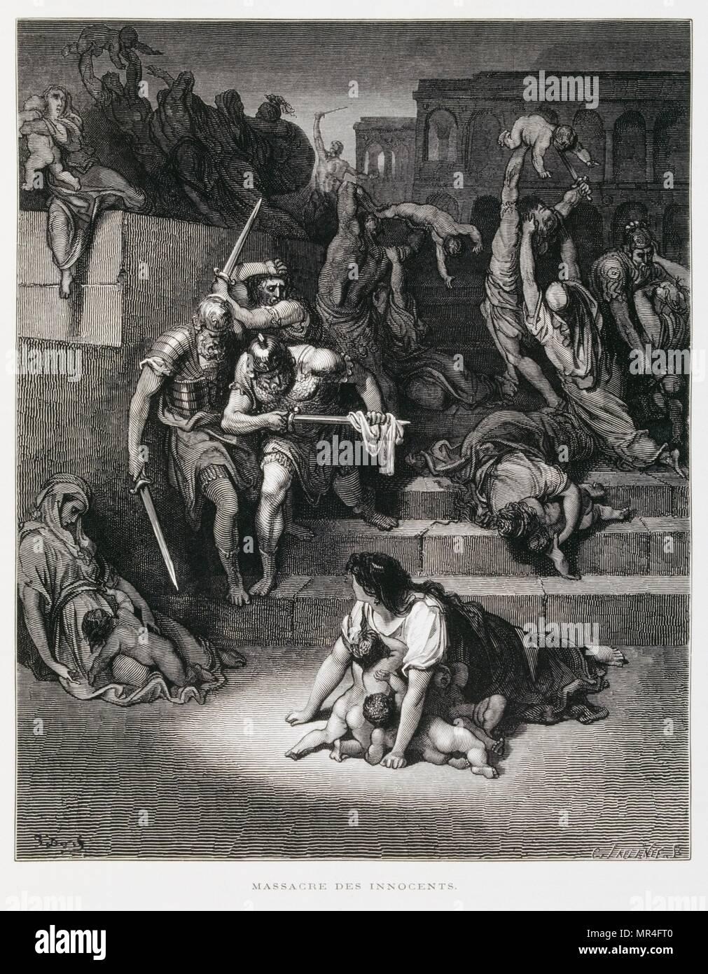 El rey Herodes ordena la matanza de los inocentes, la ilustración de la Dore Biblia 1866. En 1866, el artista e ilustrador francés Gustave Doré (1832-1883), publicó una serie de 241 grabados en madera para una nueva edición de lujo de 1843 de la traducción al francés de la Biblia Vulgata, popularmente conocida como la Biblia de Tours. Esta nueva edición fue conocida como La Grande Biblia de Tours y sus ilustraciones eran inmensamente exitosa. Foto de stock
