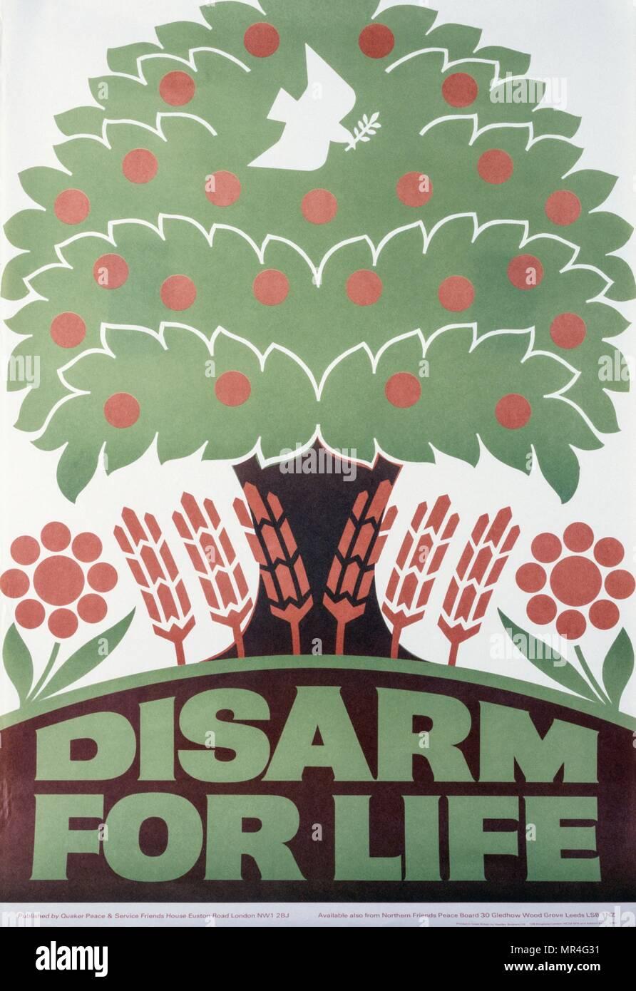 """Desarmar para la vida"""" la paz organización cuáquera, British anti-guerra fría, la propaganda poster 1970 Imagen De Stock"""